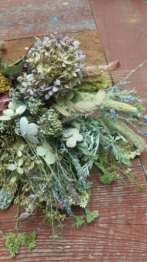 Dried Medium Floral Bouquet 2- Hydrangea* Celosia* Herbs