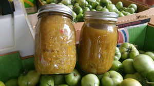 Homemade Canned Dill Green Heirloom Tomato Relish pint jar: Regular or Spicy