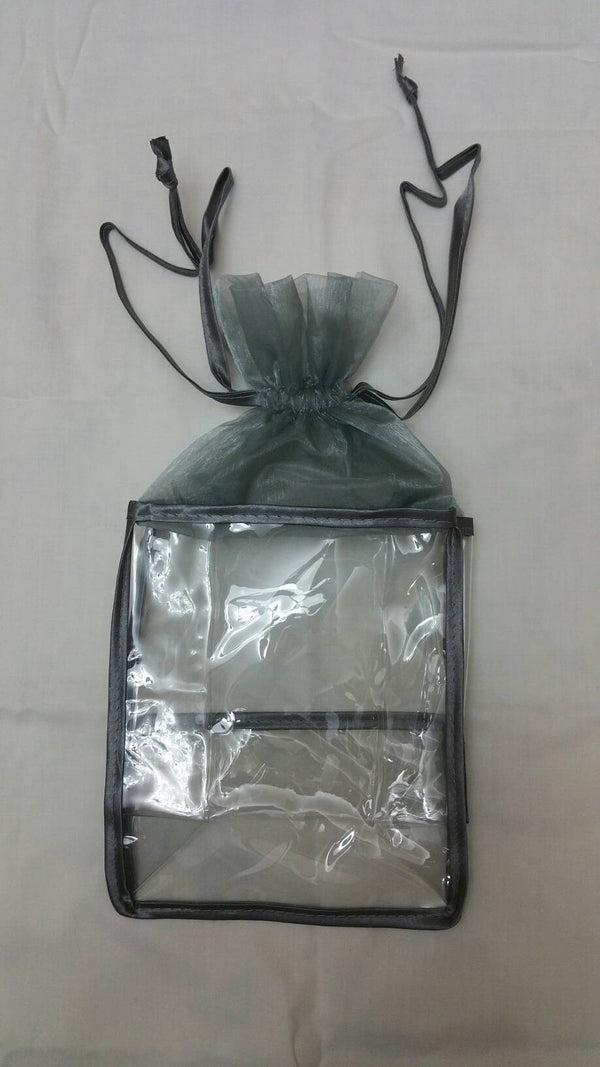 Organza top Soft VINYL BAG Silver*Cosmetics*Bath and Body*Gift Set Bag:Single Bag
