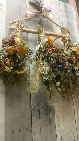 Nature's Bounty*Herbal Home Decor*Dried Floral Ornament Bouquet-Autumn Vintage Farmhouse Decoration* Set of 3 with Herbal Drying Rack