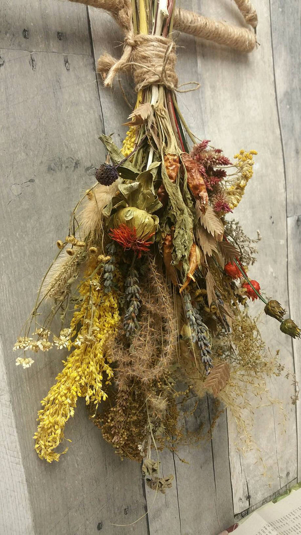 Nature's Bounty Dried Herb*Home Decor* Dried Floral Medium Bouquet - Autumn Vintage Farmhouse theme Decoration* All Natural from Nature