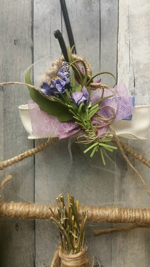 Vintage Farmhouse Herbal Jute Wrapped Embellished Herbal Drying Hanging Rack