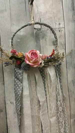 Limited Edition Floral shabby chic wall hanging home decor: You pick colors