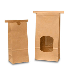 Kraft lined tin tie paper bags with window-Set of 10