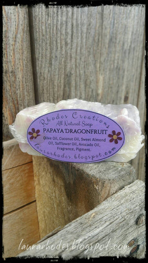 All Natural Handmade Soap Papaya Dragonfruit