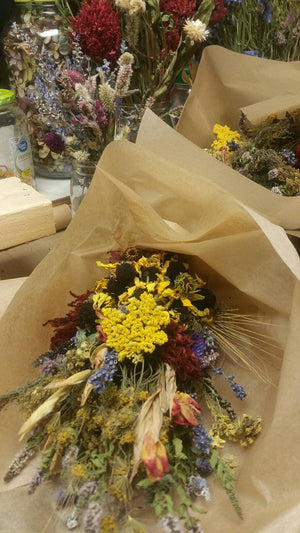 Dried Herbal Floral Bouquet*Autumn Vintage Farmhouse Decoration with Cotton Stem Option
