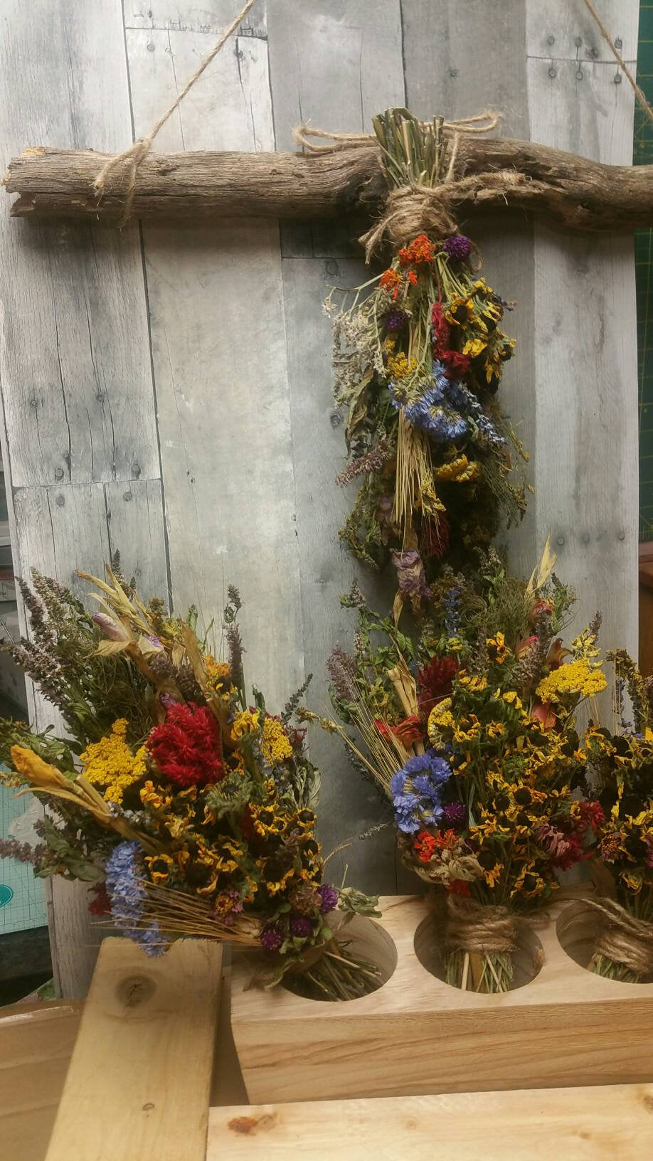 Medium Hanging Dried Herbal Floral Bouquet with Rustic wooden herbal drying rack