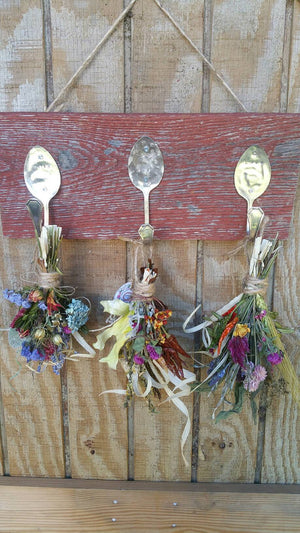 Rustic Farmhouse Triple silver spoon Handstamped barnwood herbal drying rack with 3 dried floral bunches