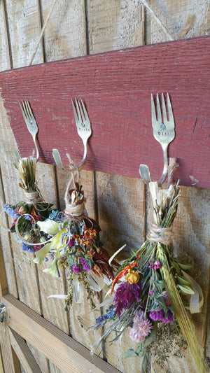 Rustic Farmhouse Triple silver fork barnwood herbal drying rack with dried floral bunches