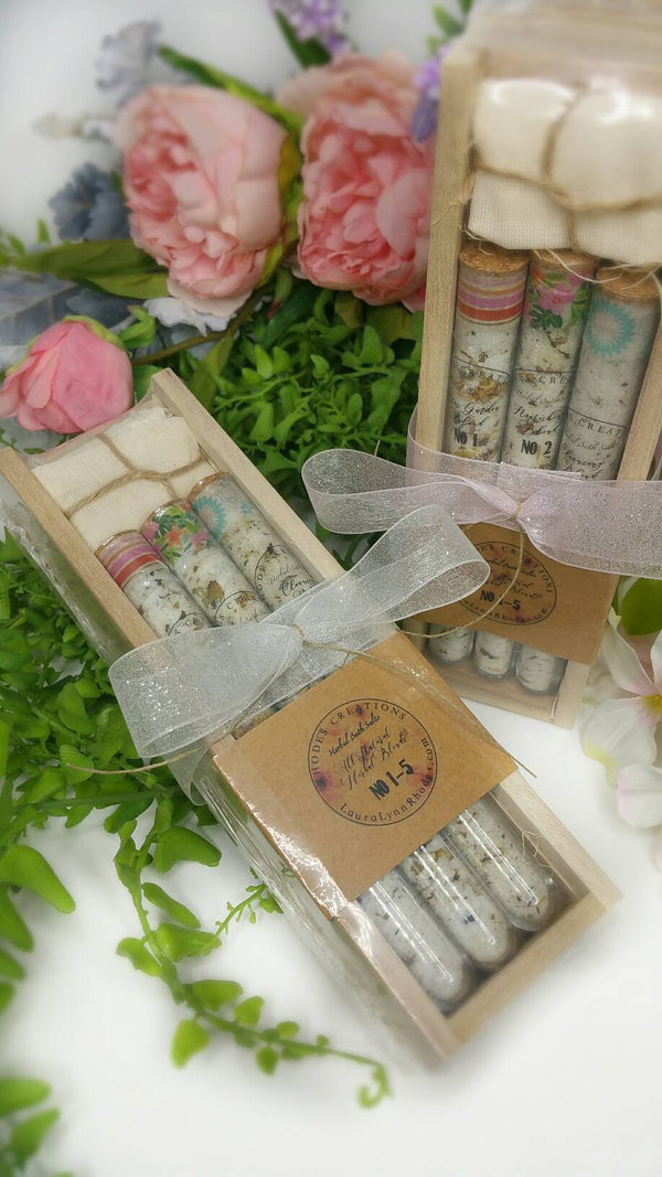 Herbal Spa Bath Salts Gift Set in a test tube with Muslin Bag*Set of Five