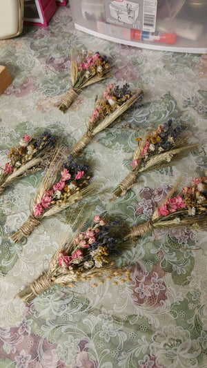 Pastel Beauty Dried Mini Floral Bouquet Ornament or Deluxe Boutonniere
