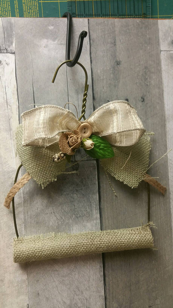 Small Vintage Farmhouse Embellished Herbal Drying Hanging Rack