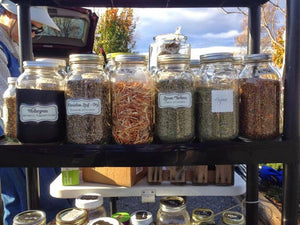 Dried Herbs lined up in glass jars, ready to sell at market.
