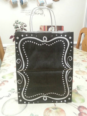 Chalkboard borders recycled paper gift bags-Set of 6