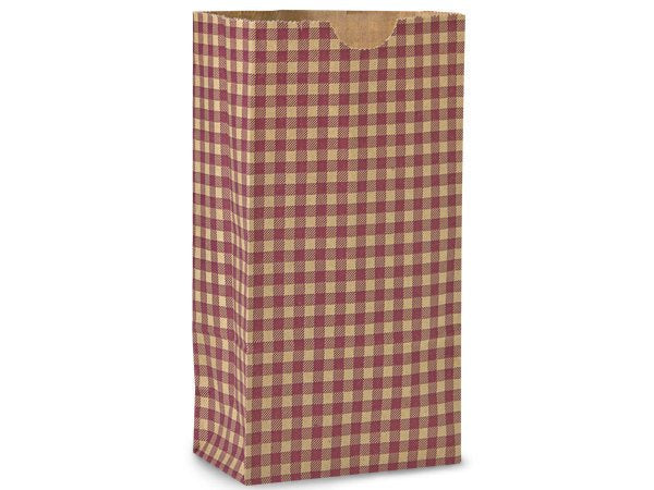 Burgundy Gingham Paper Gift Sacks*Bags-Set of 10