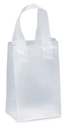 Clear Frosted Shopper Merchandise Bags-Set of 6