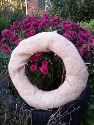 Undecorated Straw Wreath with Burlap: Ready to Decorate