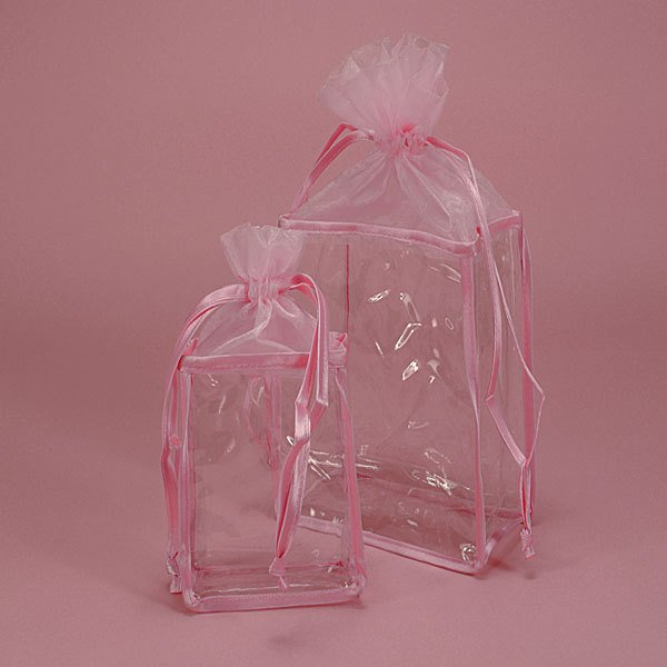 Organza top Soft VINYL BAG Rose*Cosmetics*Bath and Body*Gift Set Bag:Single Bag