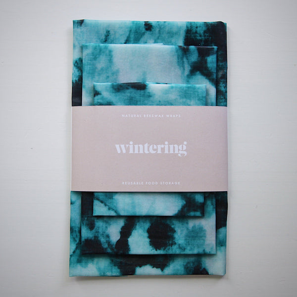Variety pack of teal watercolour wintering organic beeswax wraps