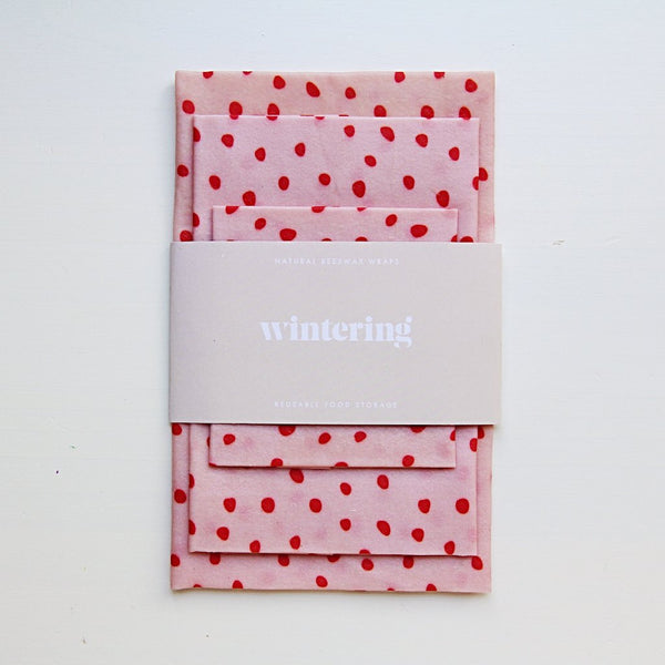 pale pink and red spot design wintering beeswax wraps variety three pack