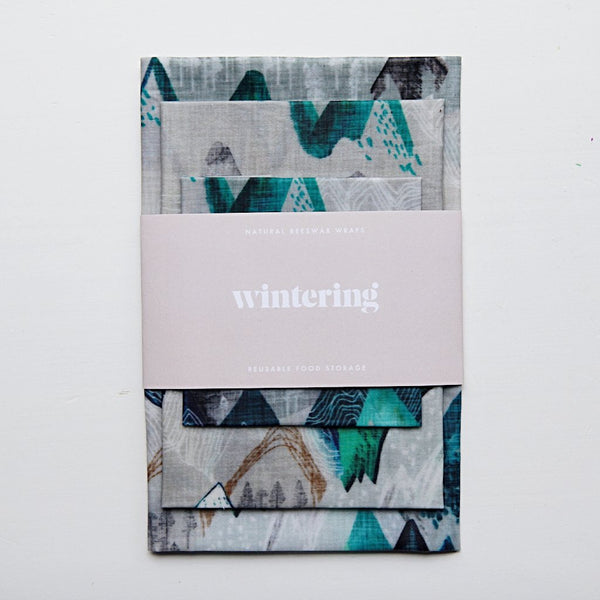 wintering beeswax wraps variety pack linen mountains