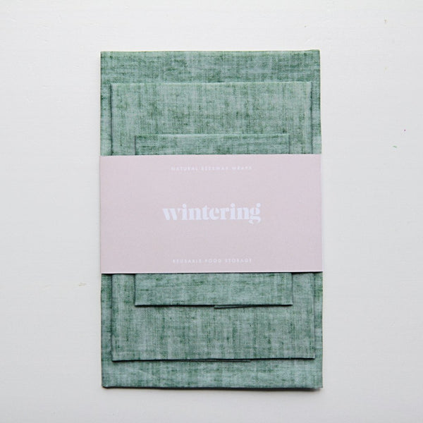 wintering green linen beeswax wrap variety pack of three