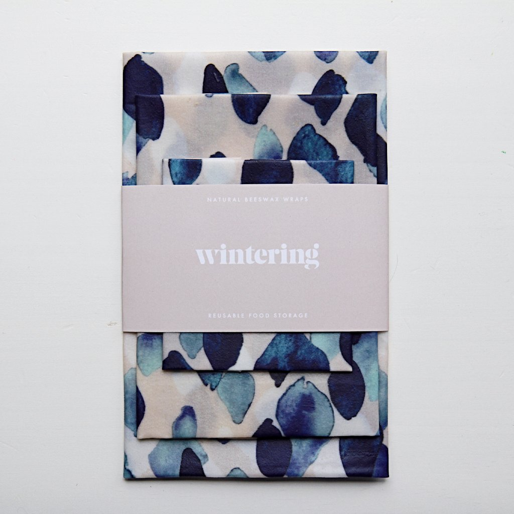 Indigo and pale pink watercolour wintering beeswax wrap variety pack