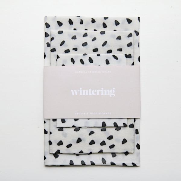Monochrome wintering beeswax wraps variety three pack