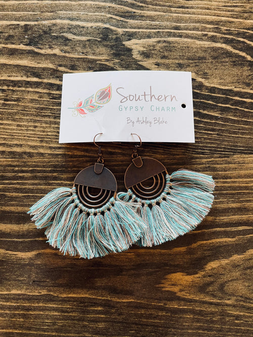 Denim Blue Fan Earrings