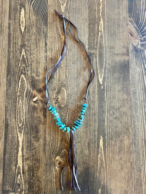 Chunky Turquoise Tassel Necklace
