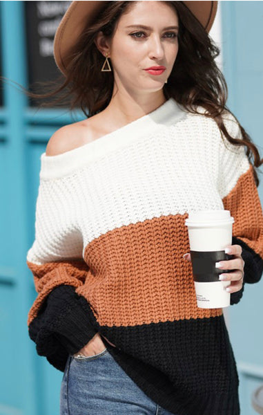 Lacy Color Block Sweater