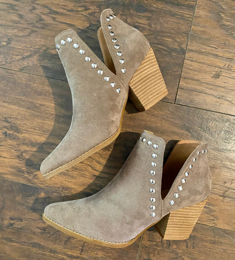 Studded Booties: Taupe