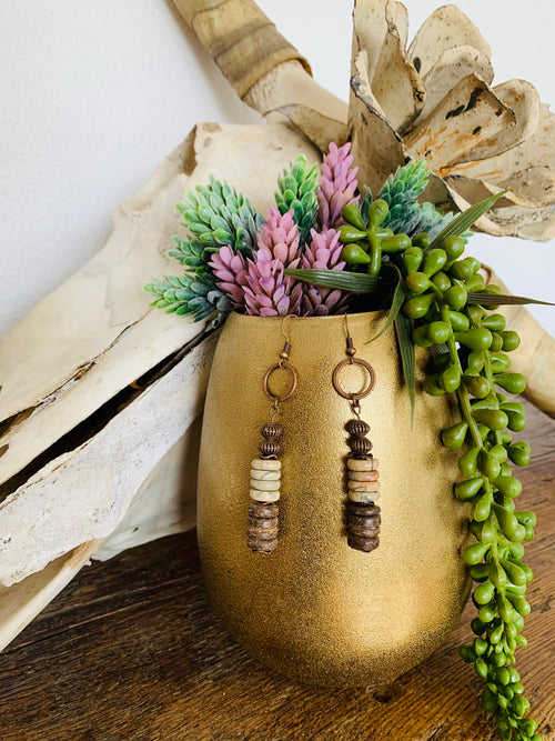 Aqua Terra/Wood earrings