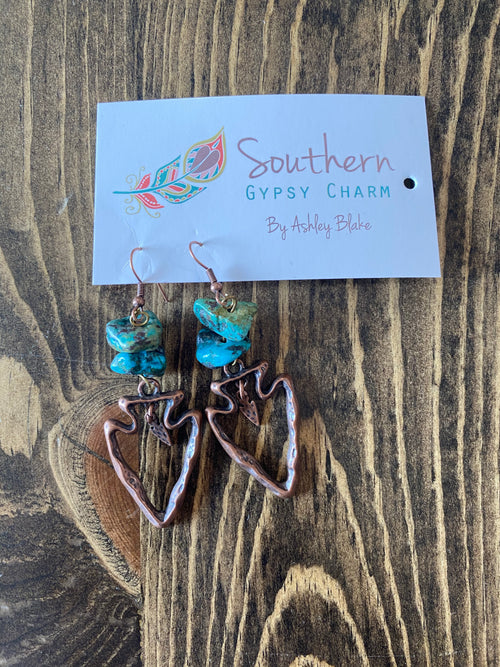 Natural Turquoise/Copper Earrings