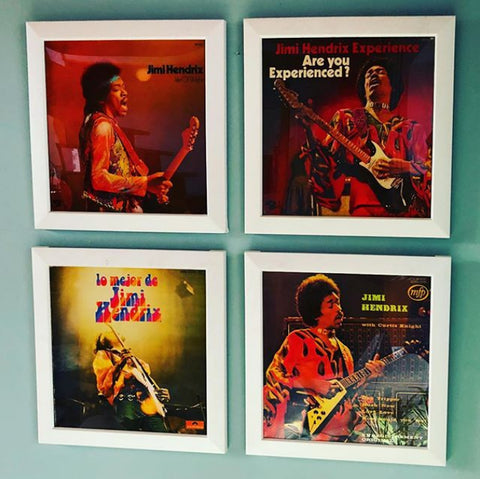 4 Jimi Hendrix Vinyl Records Framed with the Easy Frame from RockonWallUSA
