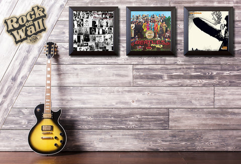 Rolling Stones, Beatles and Led Zeppelin Vinyl Record framed and display in music room. Available at RockonWallUSA