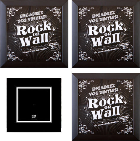 SET OF 3 BLACK FRAMES TO DISPLAY VINYL RECORDS ON YOUR WALLS + 3 FREE UNIVERSAL HOLDERS