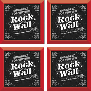 Set of 4 Red vinyl record frames to display your favorite album on the wall by RockonWallUSA