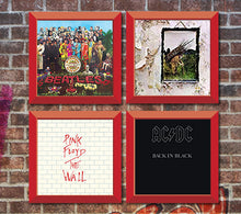 Load image into Gallery viewer, 4 Red vinyl record frames to display your favorite album on the wall. Hung on Brick wall