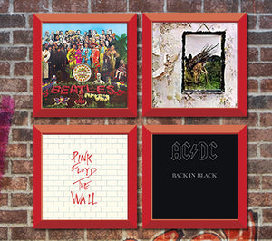 4 Red vinyl record frames to display your favorite album on the wall. Hung on Brick wall