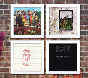4 white vinyl record frames to display your favorite album on brick wall