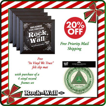 Load image into Gallery viewer, RockonWallUSA - Set of 4 black vinyl record frames + one free slip mat