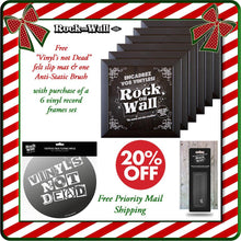 Load image into Gallery viewer, Free gifts with purchase of RockonWallUSA Set of 6 black vinyl record frames