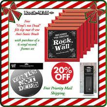 Load image into Gallery viewer, Free gifts with purchase of RockonWallUSA Set of 6 red vinyl record frames