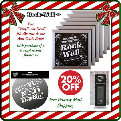 Free gifts with purchase of RockonWallUSA Set of 6 silver vinyl record frames