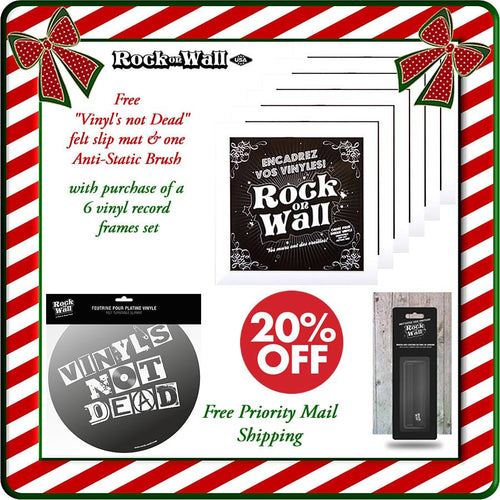 Free gifts with purchase of RockonWallUSA Set of 6 white vinyl record frames