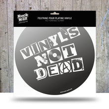 "Load image into Gallery viewer, Picture of ""Vinyl's Not Dead"" felt turntable slipmat"
