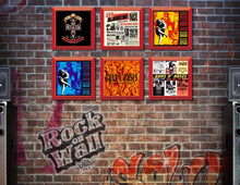 Load image into Gallery viewer, RockonWallUSA - Set of 6 Red vinyl record frames to display your favorite album on the wall. Shown with GnR records.