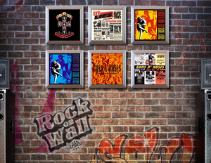 RockonWallUSA - Set of 6 silver vinyl record frames to display your favorite album on the wall. Shown with GnR records.
