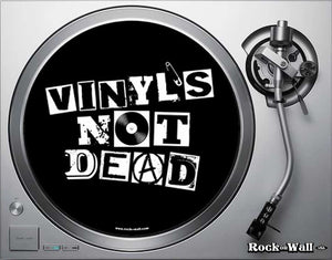 "Picture of ""Vinyl's Not Dead"" felt turntable slipmat on turntable"